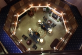 A view of the beautiful Hotel Winneshiek lobby from the third floor.